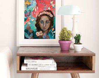 BLOOM, GROW WILD | Art Print | Wall Art | Matted Print | Whimsical Print | Fine Art Print | Inspiring Art | Home Decor | Boho Art