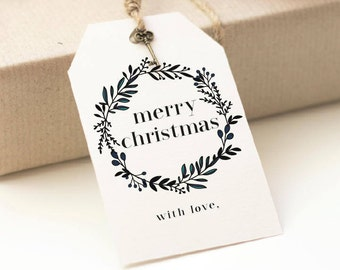 Christmas Gift Tags | Printable | Merry Christmas With Love | Present Tags | Favors | Gift Labels | Download | Wreath Tag | Homemade Labels