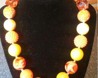 Orange and Yellow Chunky Bead, Bubblegum Bead Necklace