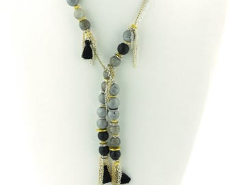 """Long lariat necklace! 52"""" long. Can be worn many different ways. Tassels, agates, onyx and mixed metals!  Black, silver and gold"""