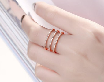Alternative Multi Row Rose Gold Diamond wedding band women Knuckle Half eternity band Dainty Pave diamond ring Delicate Promise Anniversary