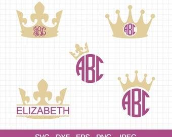 Crown Svg Crown Monogram Frames Svg Crown Frames Svg Princess Crown Svg Cut Files Silhouette Studio Cricut Svg Eps Dxf Jpg Png
