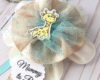 Vintage Baby Shower with baby giraffe corsage, mommy to be corsage,baby giraffe corsage, jungle theme corsage,