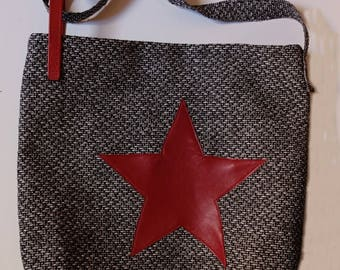 Black/white melange fabric shoulder bag with red Star applied