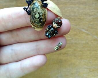 """Steampunk Boy Steve OOAK Wooden Miniature 1.6cm 0.63"""" Art Doll by Julia Arts"""
