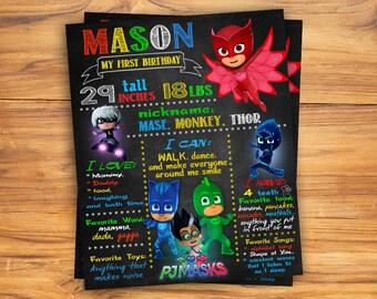 PJ masks Chalkboard Sign, PJ masks Chalkboard poster, Birthday Chalkboard Poster, pj masks party, DIGITAL