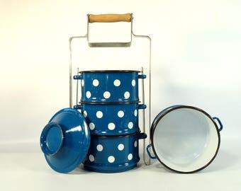 Vintage Enamel Four Tier Tiffin Lunch Box/ Food Carrier, Lunch Pail / EMO Yugoslavia / Blue Polka Dot