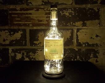 Casamigos Tequila Bottle Lamp. Recycled Liquor Bottle Lamp. Warm White LED Lights. Man Cave / Office / Bar / Kitchen / Garage