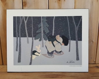 Vintage La Petite Ourse by Diane Ethier Print on Wood Child Snowshoeing with Bear and Bunny Winter Cold Snow Landscape Nursery Decor Room