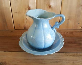 Vintage Small Ceramic Iridescent Light Blue Pitcher And Wash Basin Ewer Bowl Set Ceramic Handmade Romantic Home Decor Shabby Cottage Chic