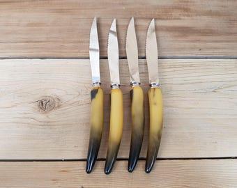Vintage Sheffield Set of 4 Bakelite Horn Knives Flatware Cutlery Set Modern Mid Century Dinnerware Knife Retro Replacement Utensils