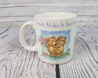 Vintage Friends Make in Bearable Fun Stoneware Mug Coffee Cup Novelty Retro Decor Break Time Tea Hot Beverages Korea Carlton Cards