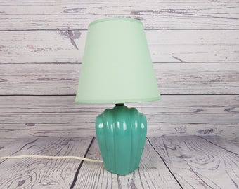 Vintage Turquoise Porcelain Table Accent Lamp w/ Matching Pale Turquoise Canvas Lampshade Pastel Aqua Light Retro Bedroom Decor Country Chic