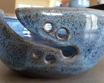 Handmade Yarn bowl, Crochet bowl, Pottery Yarn bowl, Ceramic Knitting bowl, Unique gift for knitters,Mother's day gift, Blue yarn bowl