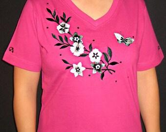 Flower shirts, Embroidered flower shirt, butterfly shirt, women's T-shirts, bling flower shirts, rhinestone bling shirts, bling t shirt