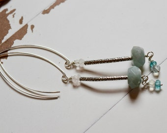 Long Aquamarine Earrings~ Aquamarine and Sterling Silver Earrings~ Birthstone Earrings~ Aquamarine