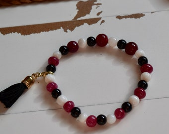 Rubies, Onyx, Mother of Pearl Stone Bracelet~ Stretch Bracelets with Tassels~ Summer Jewelry