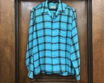 Vintage 1950s Turquoise Rayon Windowpane Sportop Rockabilly Shirt, Vintage Shirt, 1950s Shirt, Vintage Clothing