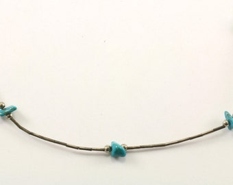 Vintage Navajo Turquoise Necklace 925 Sterling NC 1004