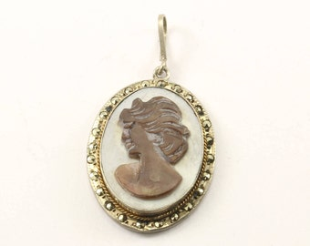 Vintage Cameo Marcasite Pendant 925 Sterling Silver PD 1447