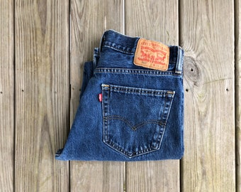 "Levi's 505 32"" Medium Wash High Waist Boyfriend Style Vintage Jeans"