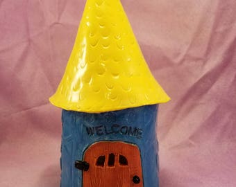 Ceramic Fairy house, Fairy House, Garden Art