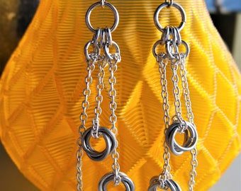 Mobius Ball Chainmail Earrings / Dangle Earrings / Mobius Weave / Mobius Knot