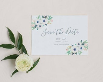 Floral Pastel Save the Date -  Pretty Spring Save the Date - Wedding Save the Date card