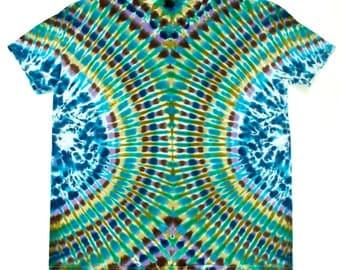Men's XL Bronze Blue Green Intricate Tie Dye T-Shirt