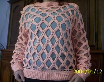Openwork crochet diamond stitch Wool Sweater this summer peach/salmon color 38/40