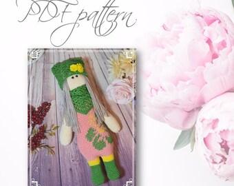 Crochet Doll Amelia, PDF pattern, DIY toys,  Amigurumi Doll, Cross Stitch clothes