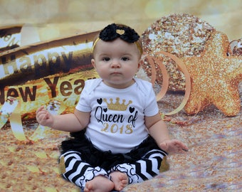 Queen of 2018 |Baby's  First New Years Outfit | New Year Baby Girl Outfit | Baby Girl Clothes | Take Home Outfit | Baby Shower Gift