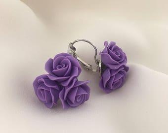 Purple rose earrings, Polymer clay jewelry, Violet earrings, Gift for her, Floral jewelry, Polymer clay earrings. Rose earrings