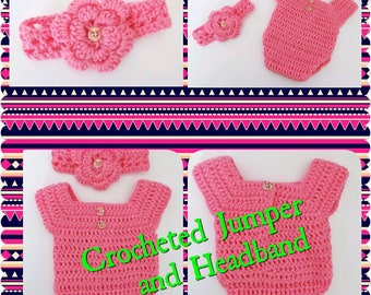 Newborn, Pink Crocheted Jumper Bow Set, Perfect Outfit or Photo Prop Set - SUPER SUPER ADORABLE - Great Baby Shower Gift
