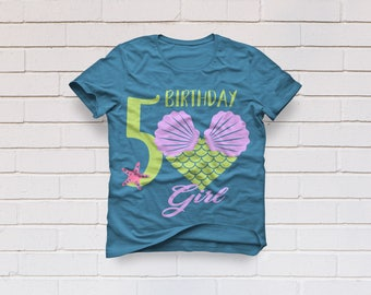 5th Birthday svg, Fifth birthday svg, Mermaid svg, Birthday Girl svg, Mermaid Scale svg, Mermaid shirt, Cricut, Cameo, Svg, DXF, Png, Eps