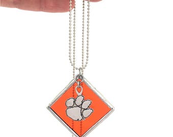 "Clemson Charm Stained Glass Square Necklace  - 30"" 1.5mm Ball Chain. Great Gift For Her! Handmade in Greenville SC"