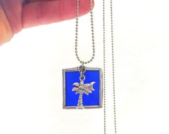 "Palmetto Charm Stained Glass Square Necklace  - 30"" 1.5mm Ball Chain. Great Gift For Her! Handmade in Greenville SC"