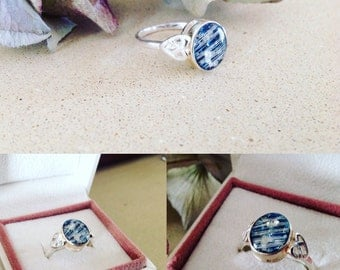 Sterling silver and resin ring