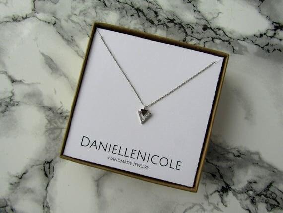 Dainty CZ Inverted Triangle Necklace, Dainty Necklace, Pendant Necklace, Everyday Jewelry, Statement Necklace, Boho Necklace, Boho Jewelry