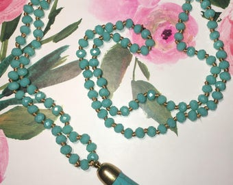 """Turquoise Crystal Bead 20"""" Necklace with Turquoise Faux Bone Pendant"""
