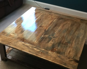 Rustic X-less Coffee Table