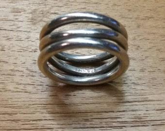 vintage Frits Heiring Sørensen asymmetrical 3-band ring, 925 sterling silver, US sz 10.75 or 11, Danish modern, Denmark