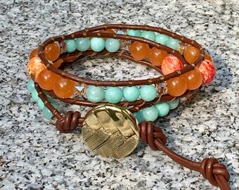 Wrap Bracelet, Aqua/Orange Wrap Bracelet, Leather Wrap Bracelet, Beaded Wrap Bracelet, Beaded Bracelet, Leather Wrap, YoungBeadsCrafts