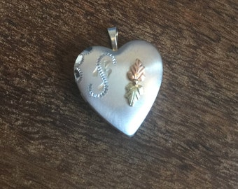 Vintage Black Hills Gold & Sterling Silver Necklace Pendant Heart, Personalized S