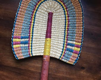 Vintage  vibrant african fan