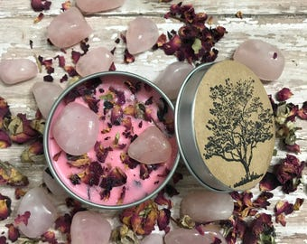 Rose Soy Candle,Handmade Candle, Botanical Candle, Quartz Candle, Travel Candle, Magical Candle, Rose Quartz, Rose scented Candle