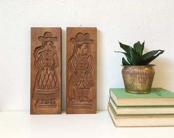 Vintage Springerle Wood Molds + Set of 2 + German Dutch Biscuit Cookie Forms + Traditional Man and Woman + Antique Biscuit Wooden Molds