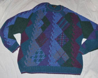 VVintage Colours By Alexander Julian Abstract Pullover Sweater - Size Extra Large - Abstract Cable Sweater