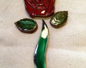 Red Rose Flower Handmade ...