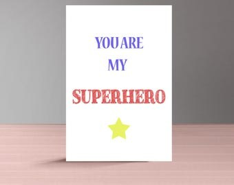 Superhero Fathers Day Card from Daughter, Printable Fathers Day Card from Wife, Unique Fathers Day Card, Fathers Day Card Husband